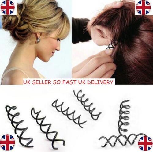 10 da Donna a Spirale SPIN pin a vite per capelli Clip Twist Barretta Nera Da Sposa UK Venditore