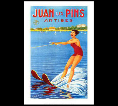 France Art Deco 1925 POSTER Reprint Classic WATERSKIING Juan les Pins Antibes