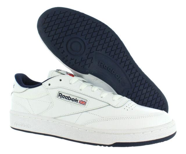 76b7f0ca03e Reebok Club C 85 Size 9 White Navy Mens Casual Retro Sneaker Shoe ...
