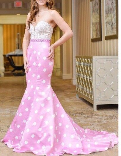 Sexy Pink dots Beaded Lace Train Long Prom Dress Dress Dress Pageant Gown  0-14 ae2daf