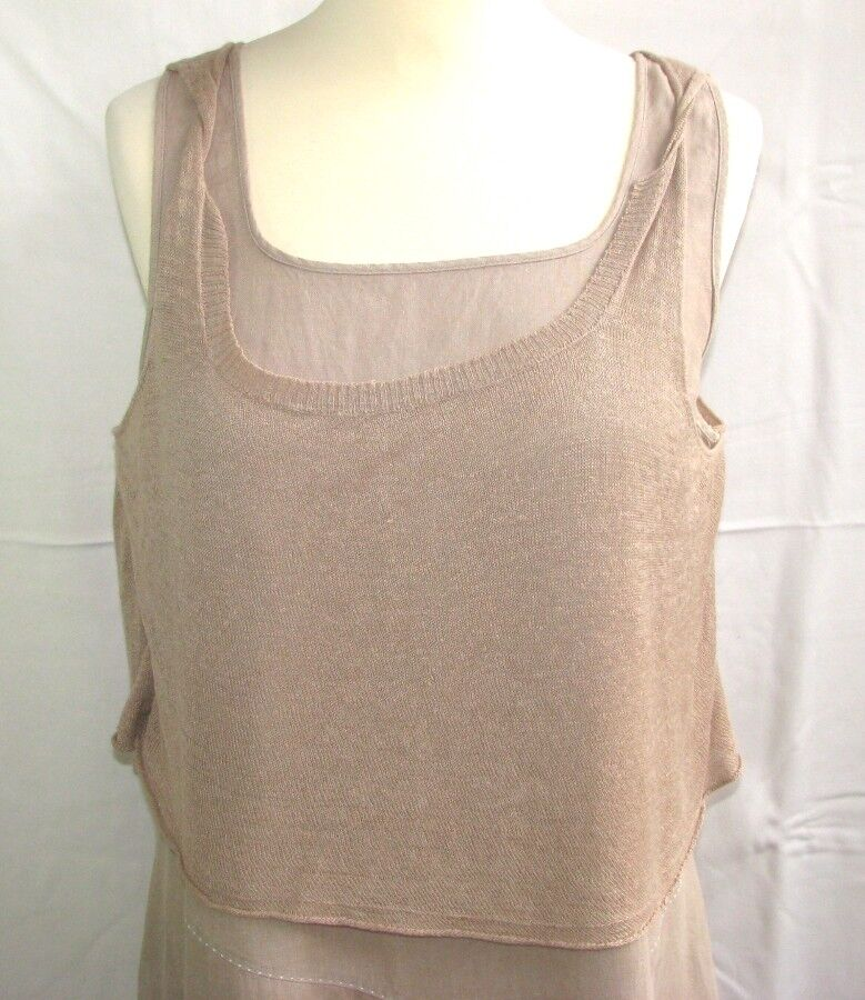 CREA CONCEPT - DRESS FEMALE COTTON COTTON COTTON & LINEN BEIGE SIZE 42 - VERY GOOD CONDITION 45b106