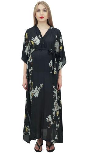 Bimba Moms Black Floral Printed Kimono Ärmel Mutterschaft Kaftan Maxikleid