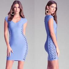 BEBE BLUE CRISS CROSS DETAIL BANDAGE DRESS NWT NEW $139 XSMALL XS