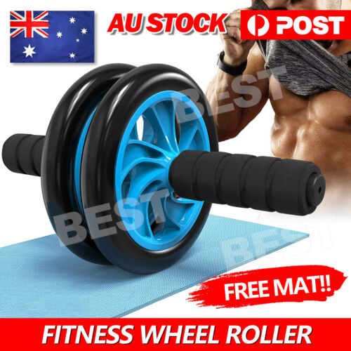 AB Abdominal Waist Workout Exercise Gym Fitness Wheel Roller FREE KNEE PAD