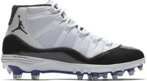 detailed look bdb93 6c4c3 Details about Jordan XI Retro TD Mid Concord Size 10.5 Football Cleats  Spikes 11 White Black