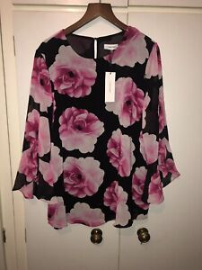 Sleeve Large 14 Shirt 12 And Beautiful Top Calvin Black Klein Long Pink Bn Size qwEfnxIv6p
