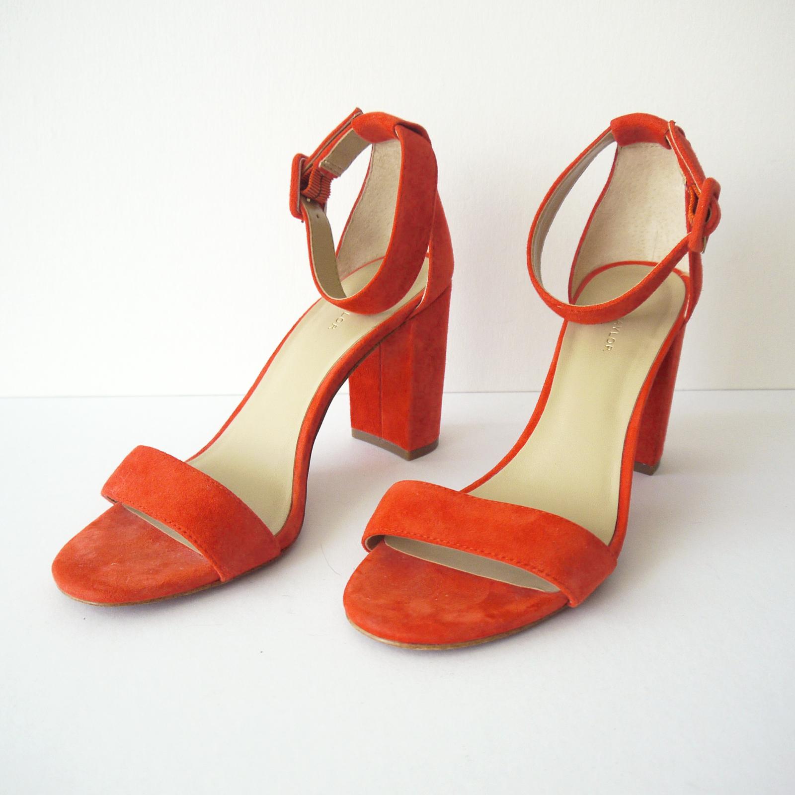 Ann Taylor mocka Block Heel Sandaler Ankle Strap, Mörka korallfärgad korallfärgad korallfärgad storlek 7M  hög kvalitet
