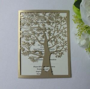 50 Laser Cut Tree And Love Birds Wedding Invitation Card Invites Ebay