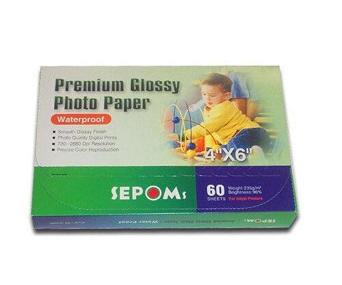 "SEPOMS High Glossy Finish 4/"" x 6/"" Premium Photo Paper 60 Sheets 5 ¢ per sheet"