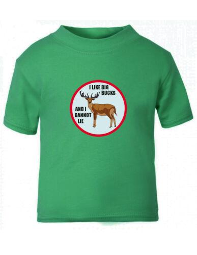 Deer Buck I Like Big Bucks And I Cannot Lie Toddler Kid T-shirt Tee 6mo Thru 7t
