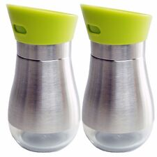 Stainless Steel Salt and Pepper Shakers Glass Bottom With Green Rotating Cover