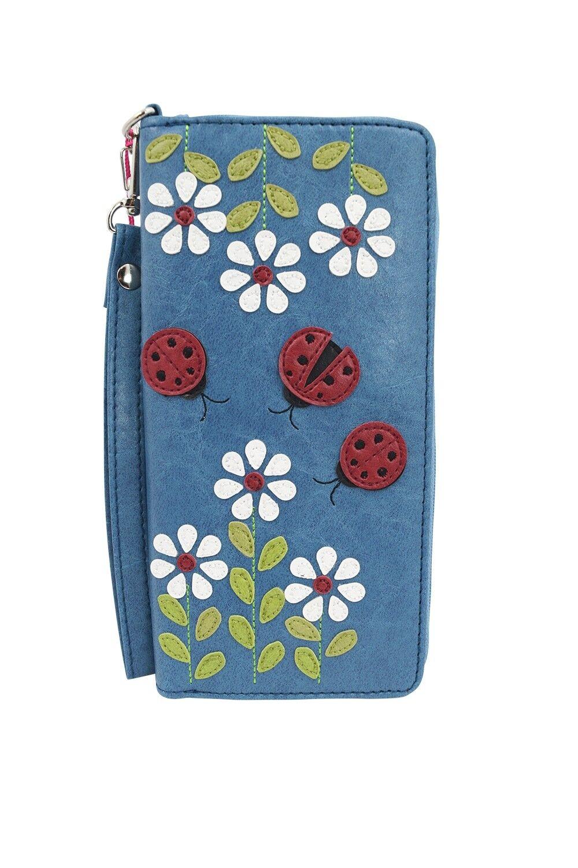Lavishy Ladybug & White Flower Applique Zip Around Wristlet Large Wallet
