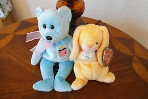 LOT (2) TY 2000 BEANIE BABIES PRAYING GRACE BUNNY & EGGS II BEAR ALL WITH TAGS F