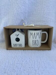 NEW-Rae-Dunn-Square-Mini-Baby-Bird-Birdhouse-and-Mama-Bird-Mug-Set