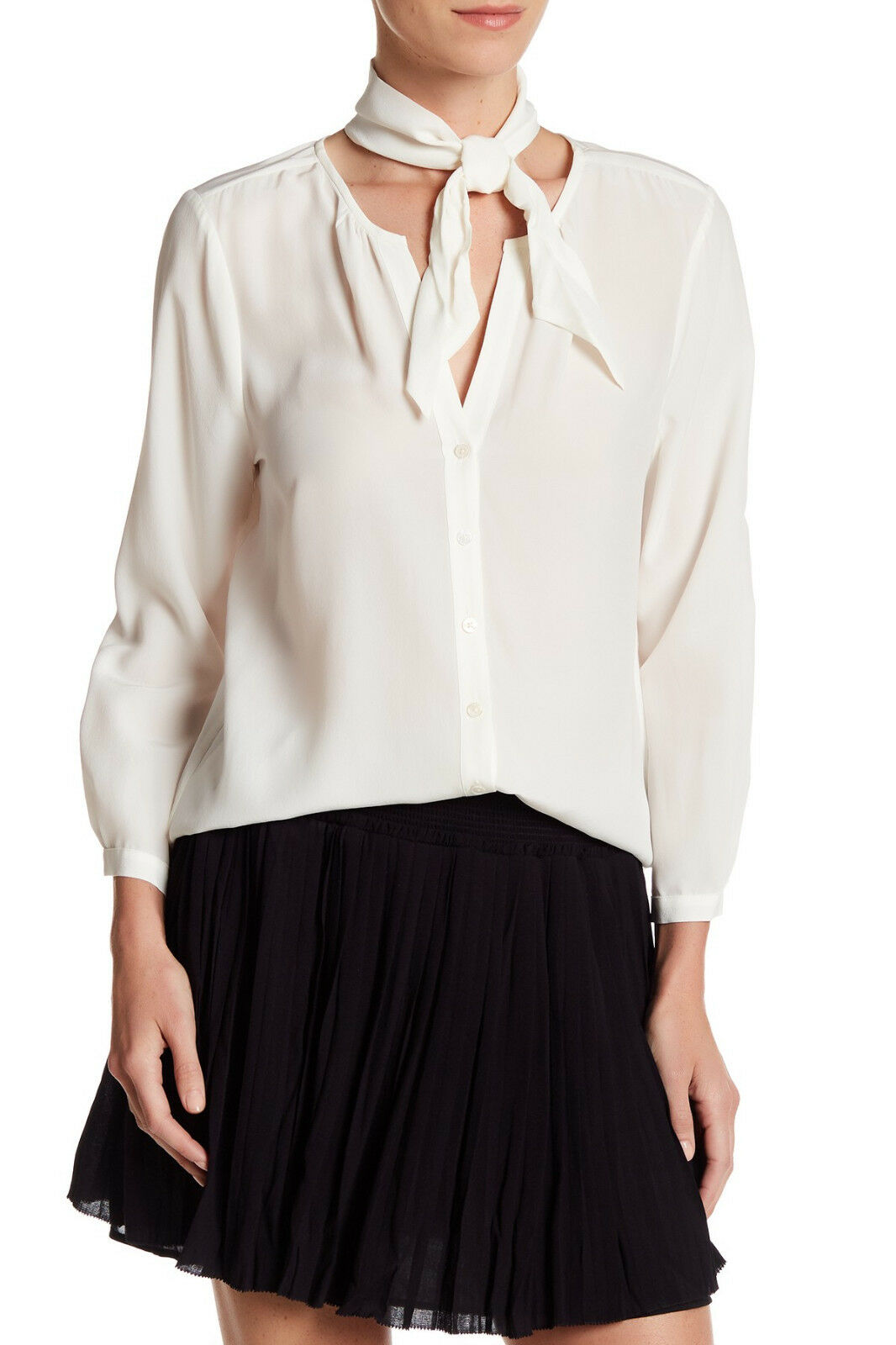 Joie Nile 100% Silk Tie Neck Detail Blouse Farbe PORCELAIN Größe L NEW