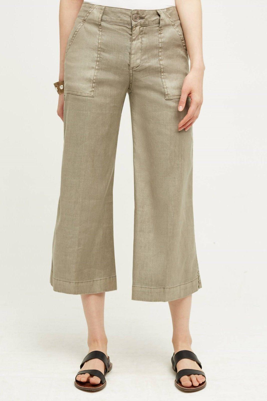 Anthropologie Level 99 Linen WIDE-LEGS GAUCHOS PANTS Size 26,27 NwT