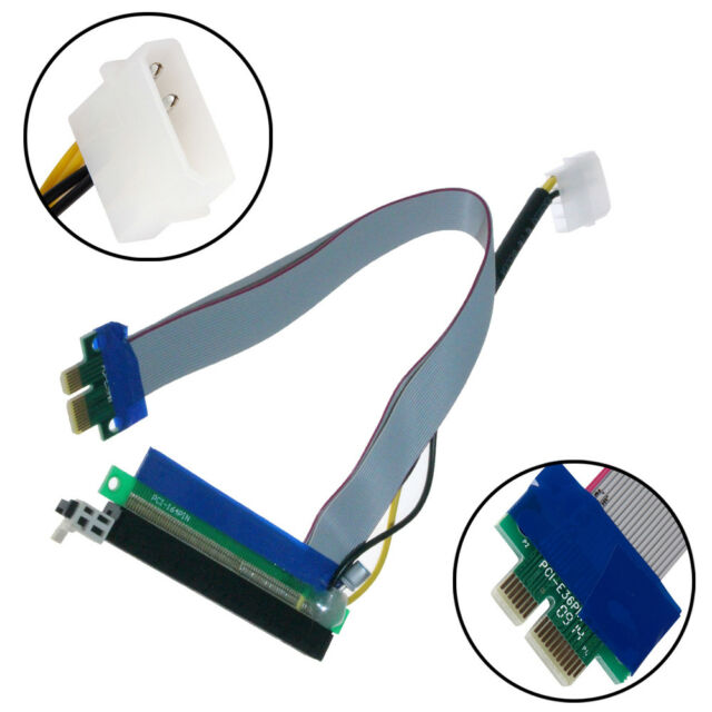 Molex Power PCI-E Express 1x To 16x Riser Card Ribbon Extender Extension Cable