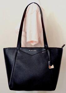 705c71de14ef MICHAEL Michael Kors Whitney Small Top Zip Black Pebbled Leather ...