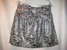 Wet Seal Black Grey Silver Metallic Print Skirt Bow at Waist size Medium