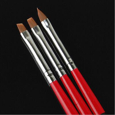 3 pcs Acrylic UV Gel Painting Polish Brush Pen Dotting Nail Art Tool Set