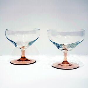 Depression-Glass-Set-of-2-Swirl-Pattern-Clear-Bowl-Pink-Stem-Champagne-Saucer