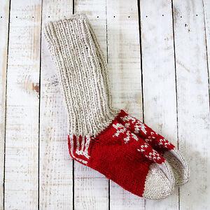 Funky Hand Knitted Winter Woollen Lhotse Socks Red