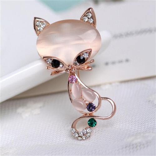 Gold Filled Opal Stone Fox Brooches Women Fashion Animal Pin Brooch Jewelry ER