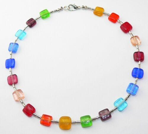 BEZAUBERNDE KETTE 11mm QUADRATE multicolor  Regenbogen bunt farbenfroh   252k