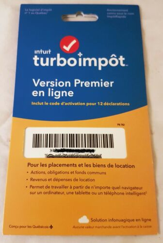INTUIT TURBO TAX PREMIER Online Edition 2018 Canadian Canada Tax Return