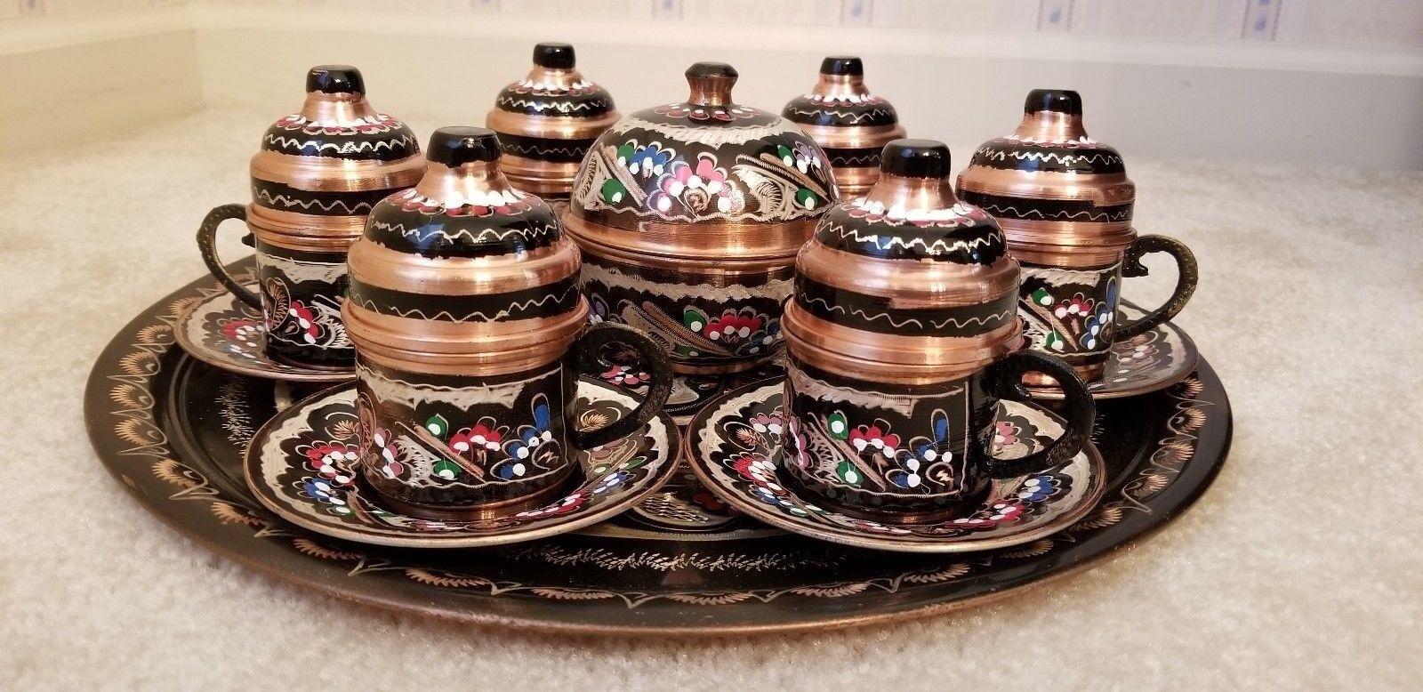 Fait Main Peint Main Cuivre Turc Arabe arménien grec Café Set 27 pc