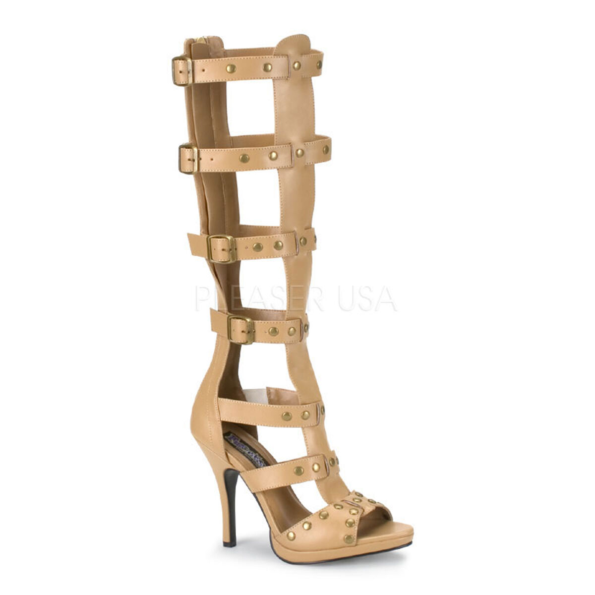 GLA208/T/PU Women's Roman Greek Goddess Tan Gladiator Sandals Sexy Costume Shoes