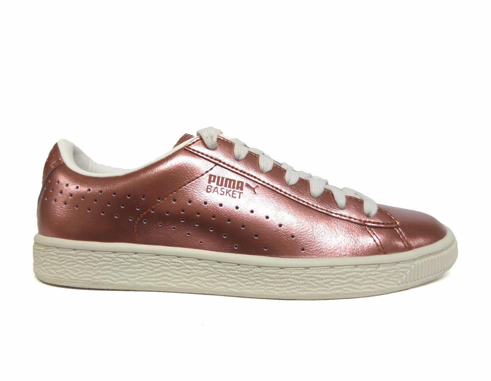 PUMA Women's BASKET CLASSIC CITI METALLIC Shoes Copper/White 364165-01 a Cheap women's shoes women's shoes