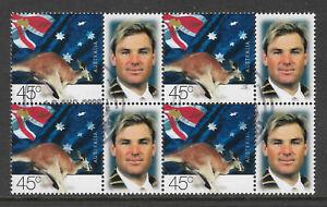 AUSTRALIA-2000-SHANE-WARNE-CRICKET-AP-Personalised-Stamp-London-Block-of-4-USED
