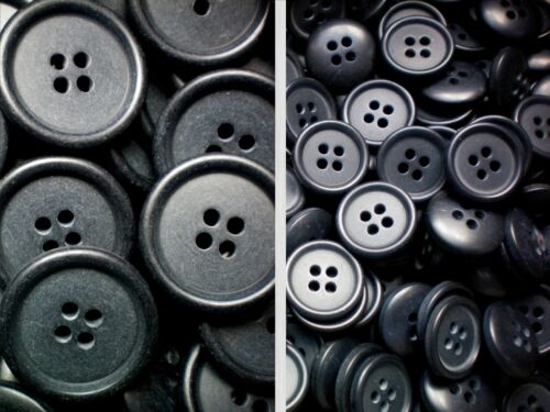 15mm 24L /& 23mm 36L Charcoal Grey Shirt Suit Quality 4 Hole Buttons W5 /& W6 X