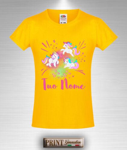T-Shirt Colorata UNICORNO NOME PERSONALIZZATO Maglietta Regalo Bambino Bambina
