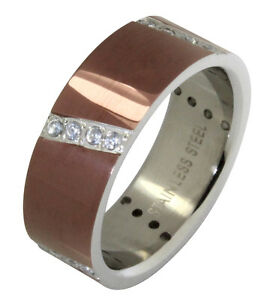 Image Is Loading Mens Chocolate Stainless Steel Wedding Band Cubic Zirconia