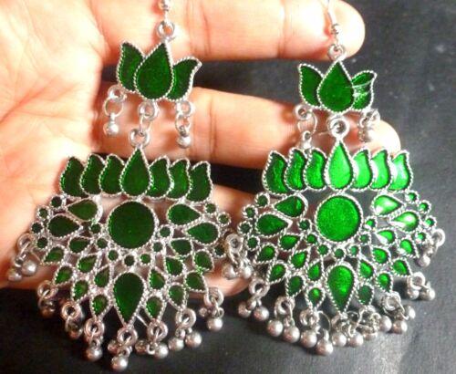 Indian Antique Vintage Silver Plated Multi Bead 9.5 cm Hook Jhumka  Earrings