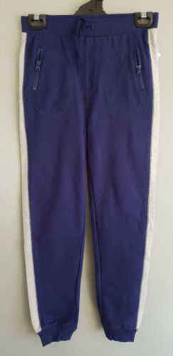 BNWT Boys Sz 10 Slim Blue Grey Stripe Fleece Zip Pocket Cuffs Track Pants