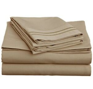 LUXURIOUS 2 LINE EMBROIDERED 4 PC BEDROOM SHEET SET, KING QUEEN TWIN FULL, TAUPE