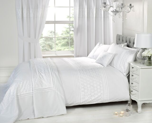 763b141daca Luxury White Bedding Bed Sets or Curtains   Matching Accessories  Embroidered Single Duvet Cover
