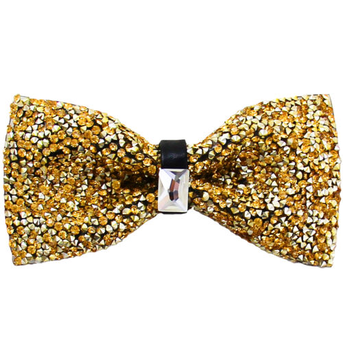 New in box BRAND Q Formel Homme Cristal Pre-Tied Bow Tie Gold Blink Mariage