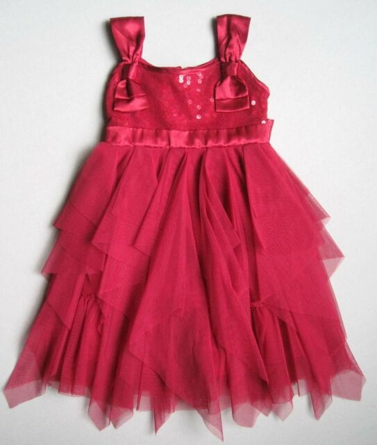 BISCOTTI Girls 4 Yrs Sleeveless Red Sequins Bows Tulle Dress EUC Christmas Party