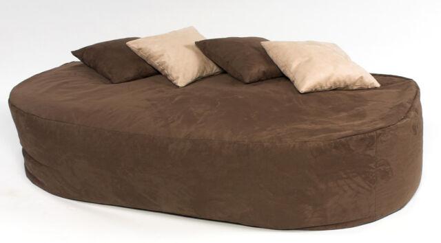 16cuf faux suede beanbag bed bean bag sofa filled brown ebay rh ebay co uk