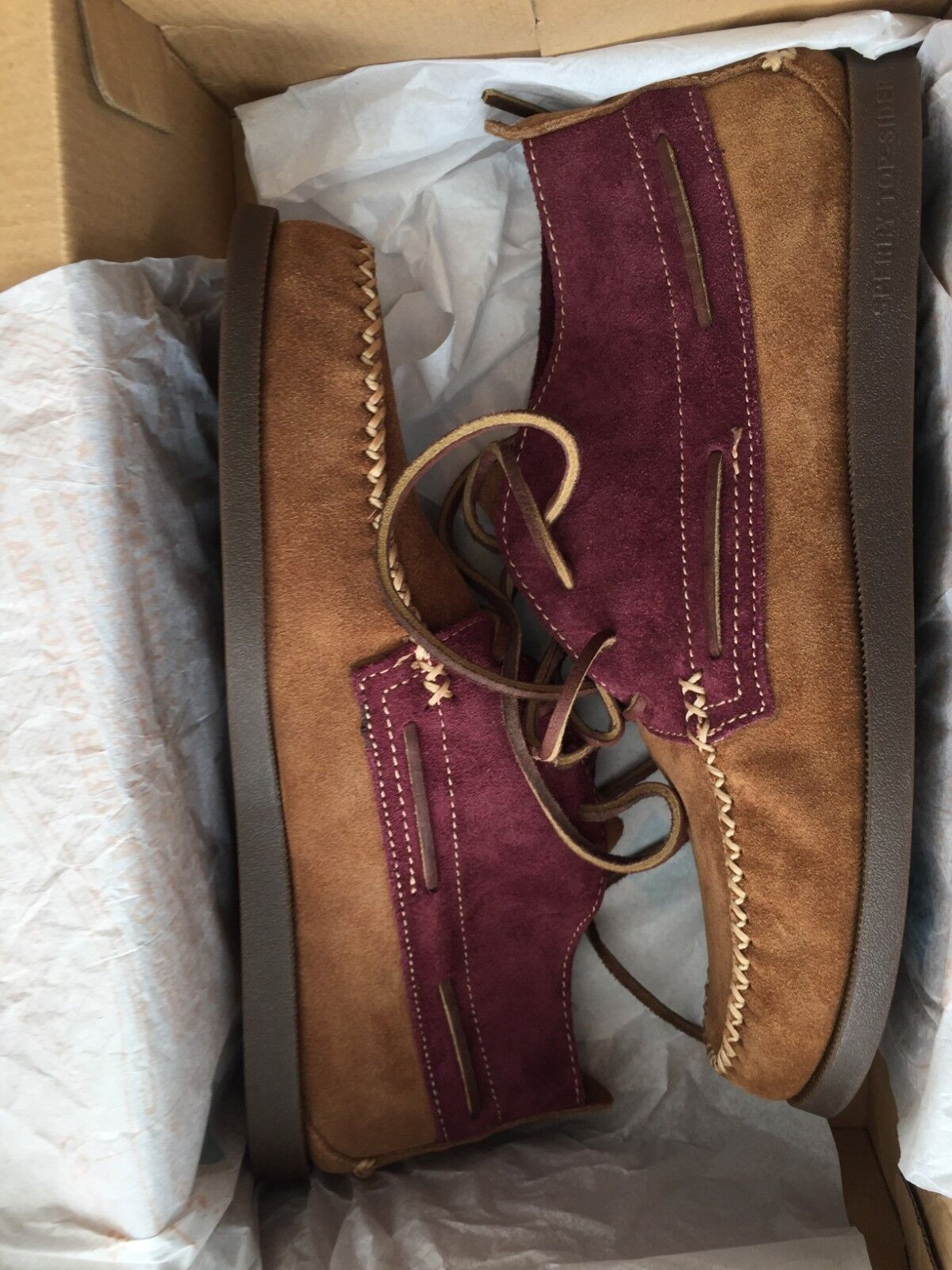 NEW MENS SPERRY WEDGE CHUKKA TAN AND BURGUNDY SUEDE LEATHER BOOTS RRP 225
