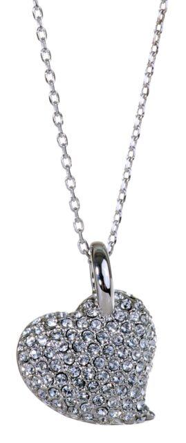 888788b39240 Swarovski Elements Crystal Heart Alana Pendant Necklace Rhodium Plated New  7118y