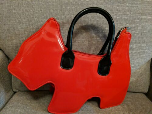Vintage Scottie Dog Red Patent Leather Novelty Pur