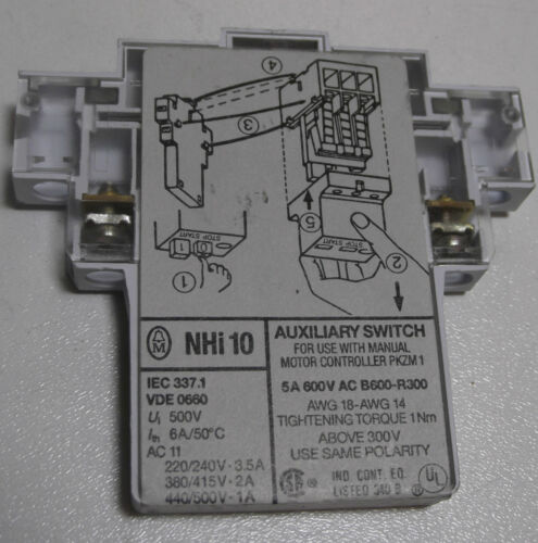 Moeller  NHI10 PKZM1 Auxiliary Switch Contact