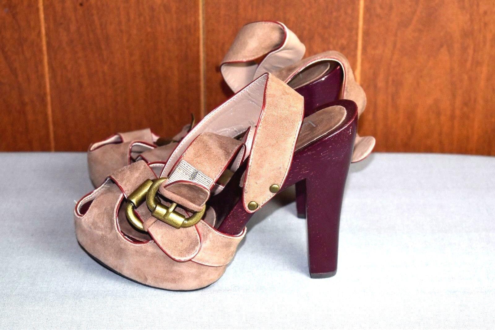 LUICHINY Platform Peep Women's Toe High Heel Shoes Women's Peep 5M Tan Suede Ankle Strap Wood cdb8e9