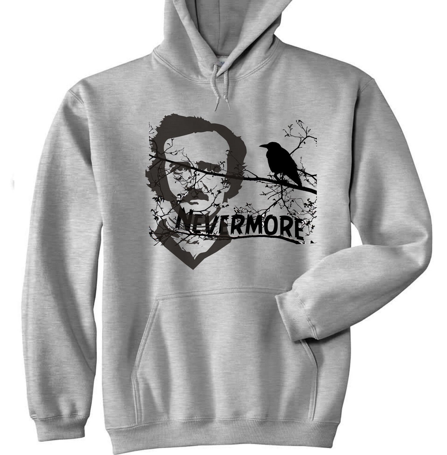 EDGAR ALLAN POE - NEW COTTON GREY HOODIE - ALL SIZES IN STOCK