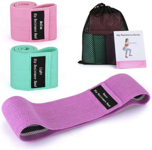 Resistance Exercise Bands Fabric Sports Loop Band Set Workout Fitness Gym Yoga